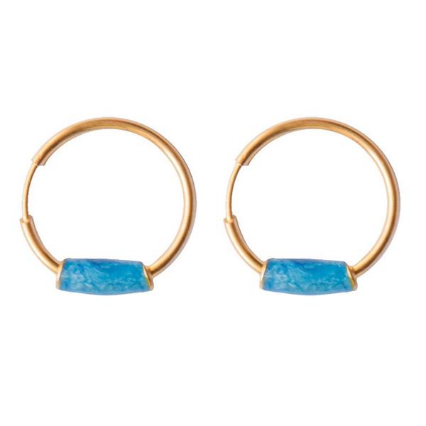 گوشواره طلا 18 عیار طرح حلقه کد E318