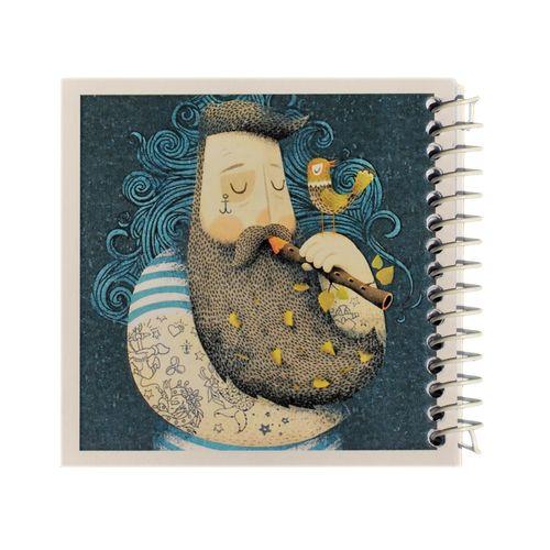 دفتر یادداشت ژوست طرح فلوت نواز و پرنده ی کوچک مدل کژوال کد 01