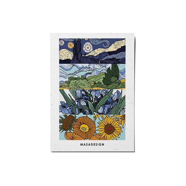 کارت پستال ماسا دیزاین طرح ونگوگ کد POST49