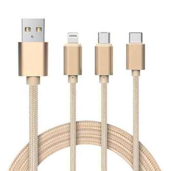 کابل تبدیل USB به microUSB / لایتنینگ / USB-C مدل M-85 طول 0.9 متر