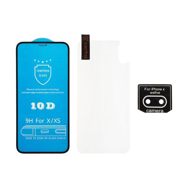 محافظ صفحه نمایش و پشت گوشی کاکتوس مدل MGPR_Bck مناسب برای گوشی موبایل اپل IPhoneXS MAX به همراه محافظ لنز دوربین