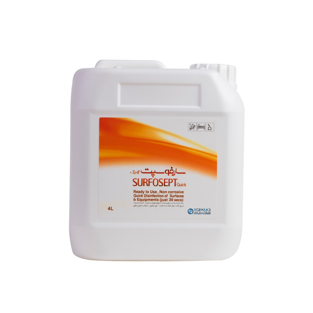 محلول ضدعفونی کننده سطوح شرکت رضاراد مدل Surfosept Quick حجم 4 لیتر بسته 2 عددی