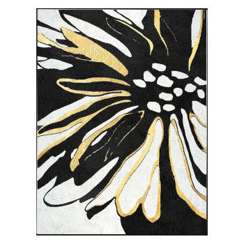 تابلو ورق طلا طرح گل خروشان کد 006