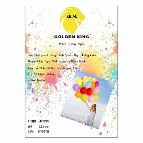 کاغذ چاپ گلاسه گلدن کینگ مدل G20-HG سایز A4 بسته 100 عددی