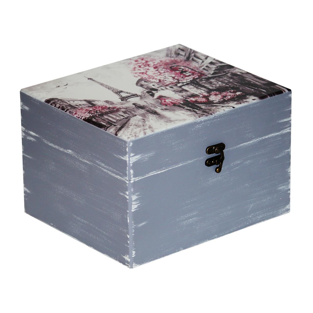 جعبه هدیه چوبی طرح عاشقانه در پاریس کد 03