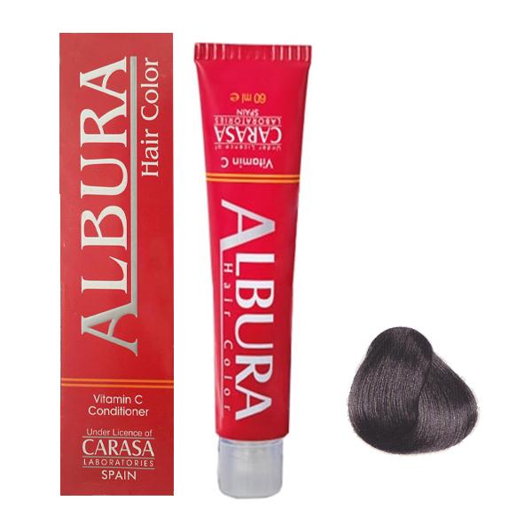 رنگ مو آلبورا مدل carasa شماره c4-5.1 حجم 100 میلی لیتر رنگ قهوه ای دودی روشن