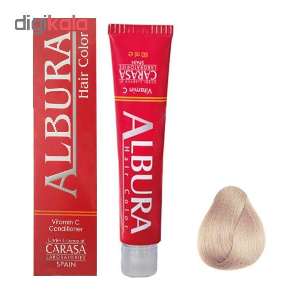 رنگ مو آلبورا مدل carasa شماره c10-11.1 حجم 100 میلی لیتر رنگ بلوند دودی خیلی خیلی روشن
