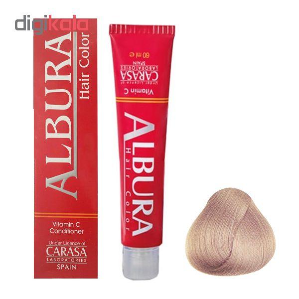 رنگ مو آلبورا مدل carasa شماره 10.31 حجم 100 میلی لیتر رنگ بلوند دودی طلایی خیلی خیلی روشن