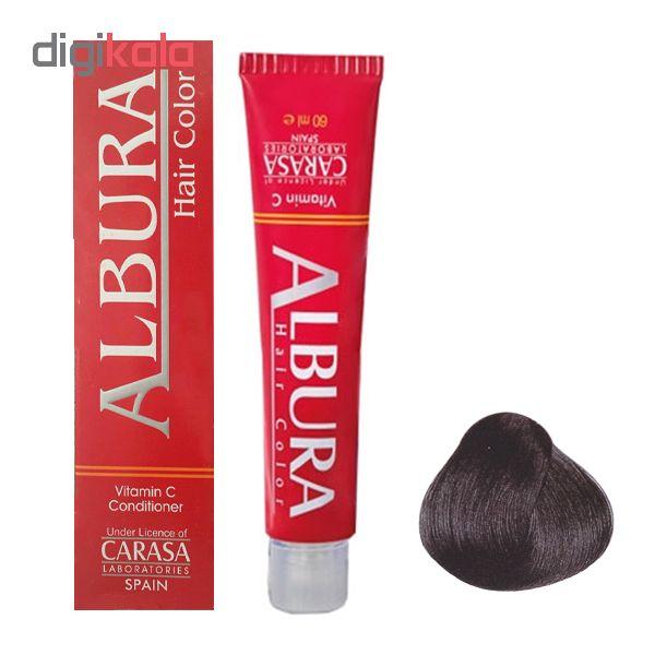 رنگ مو آلبورا مدل carasa شماره c1-1.1 حجم 100 میلی لیتر رنگ مشکی پر کلاغی