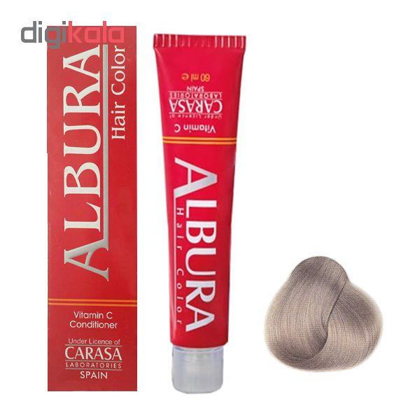 رنگ مو آلبورا مدل carasa شماره c8-9.1 حجم 100 میلی لیتر رنگ بلوند دودی خیلی روشن