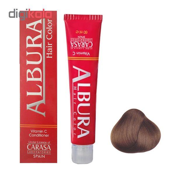 رنگ مو آلبورا مدل carasa شماره 6.45 حجم 100 میلی لیتر رنگ بلوند دودی طلایی تیره