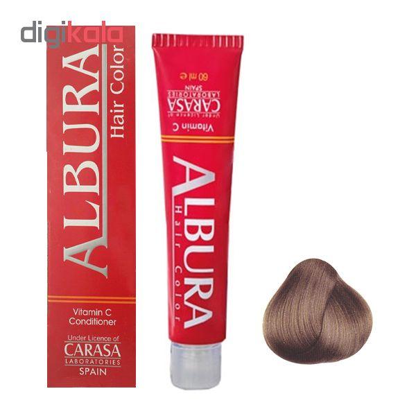 رنگ مو آلبورا مدل carasa شماره 7.45 حجم 100 میلی لیتر رنگ بلوند تنباکویی متوسط