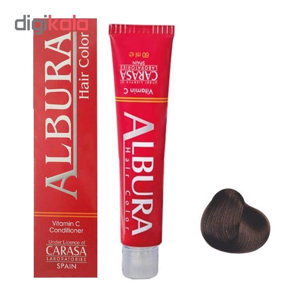رنگ مو آلبورا مدل carasa شماره A3-4.11 حجم 100 میلی لیتر رنگ قهوه ای خاکستری متوسط