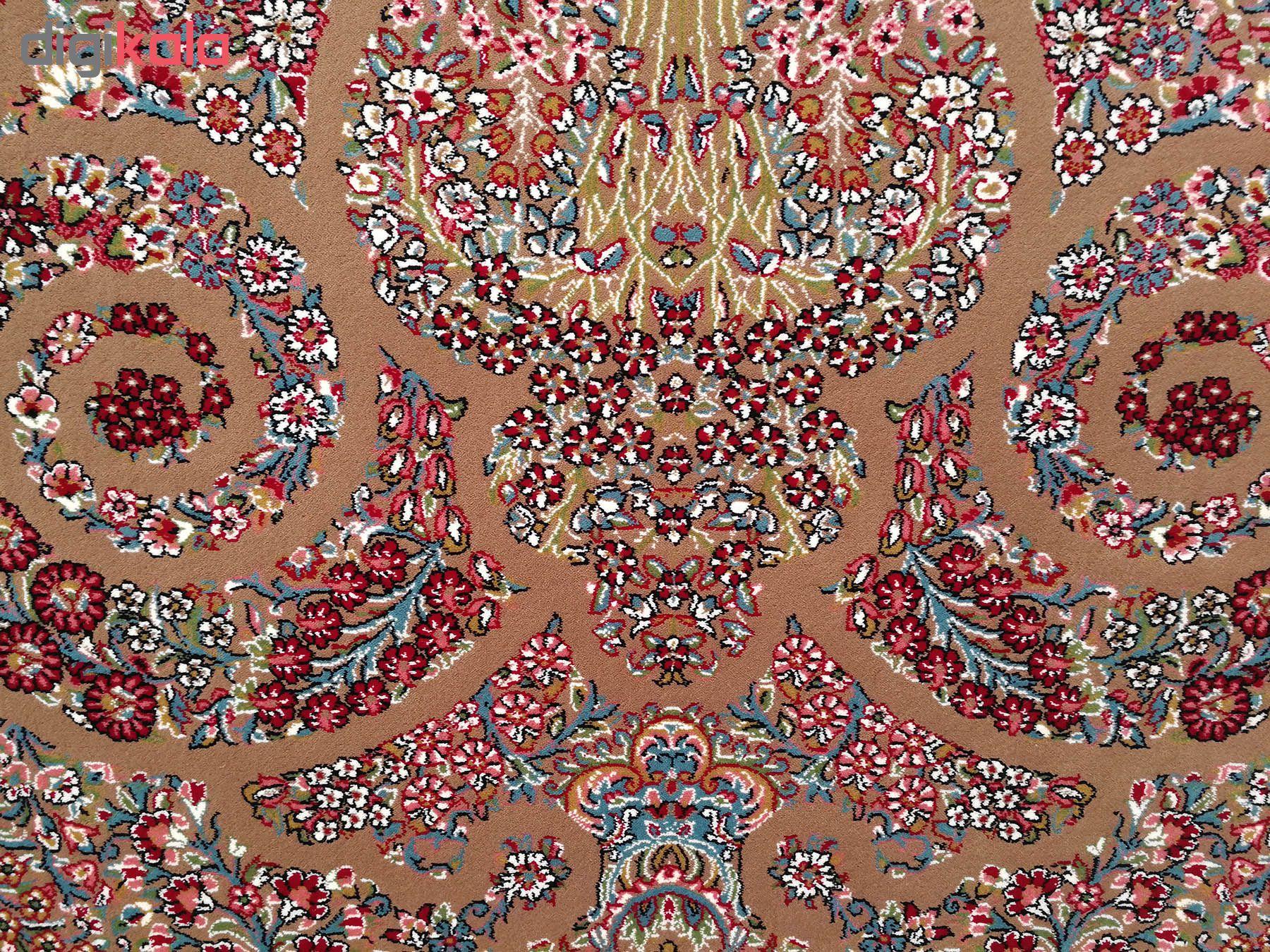 فرش ماشینی زمرد مشهد مدل 210067 زمینه گردویی