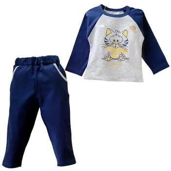 ست تی شرت آستین بلند و شلوار پسرانه مدل گربه ملوس کد 1137 |