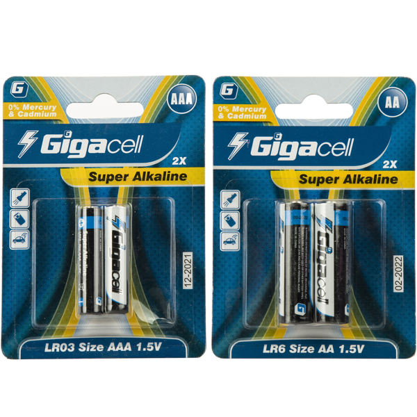 باتری قلمی و نیم قلمی گیگاسل مدل Super Alkaline - بسته 4 عددی