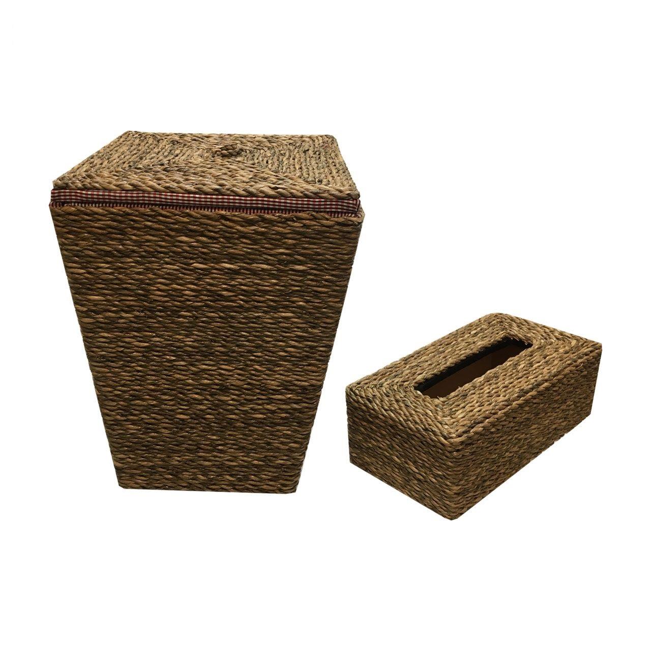 ست سطل و جعبه دستمال کاغذی حصیر بافی مدل SHIKA