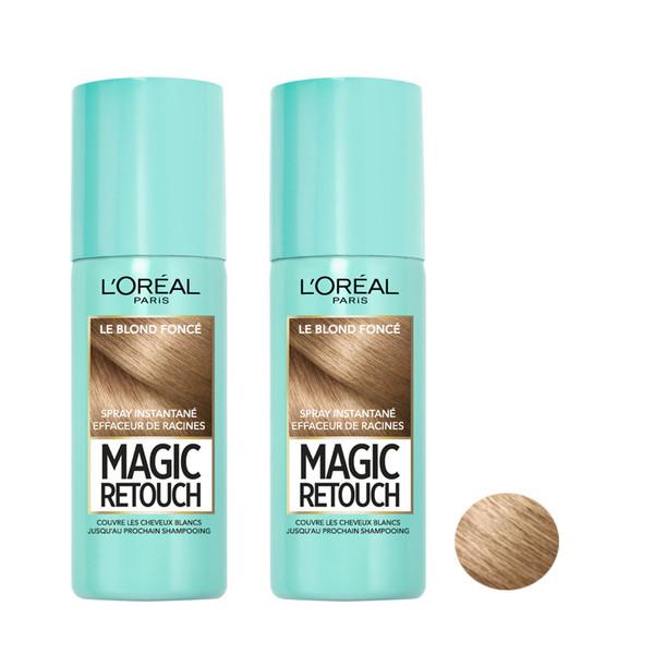 اسپری رنگ مو لورآل سری Magic Retouch کد 012 حجم 75 میلی لیتر رنگ بلوند تیره مجموعه 2 عددی