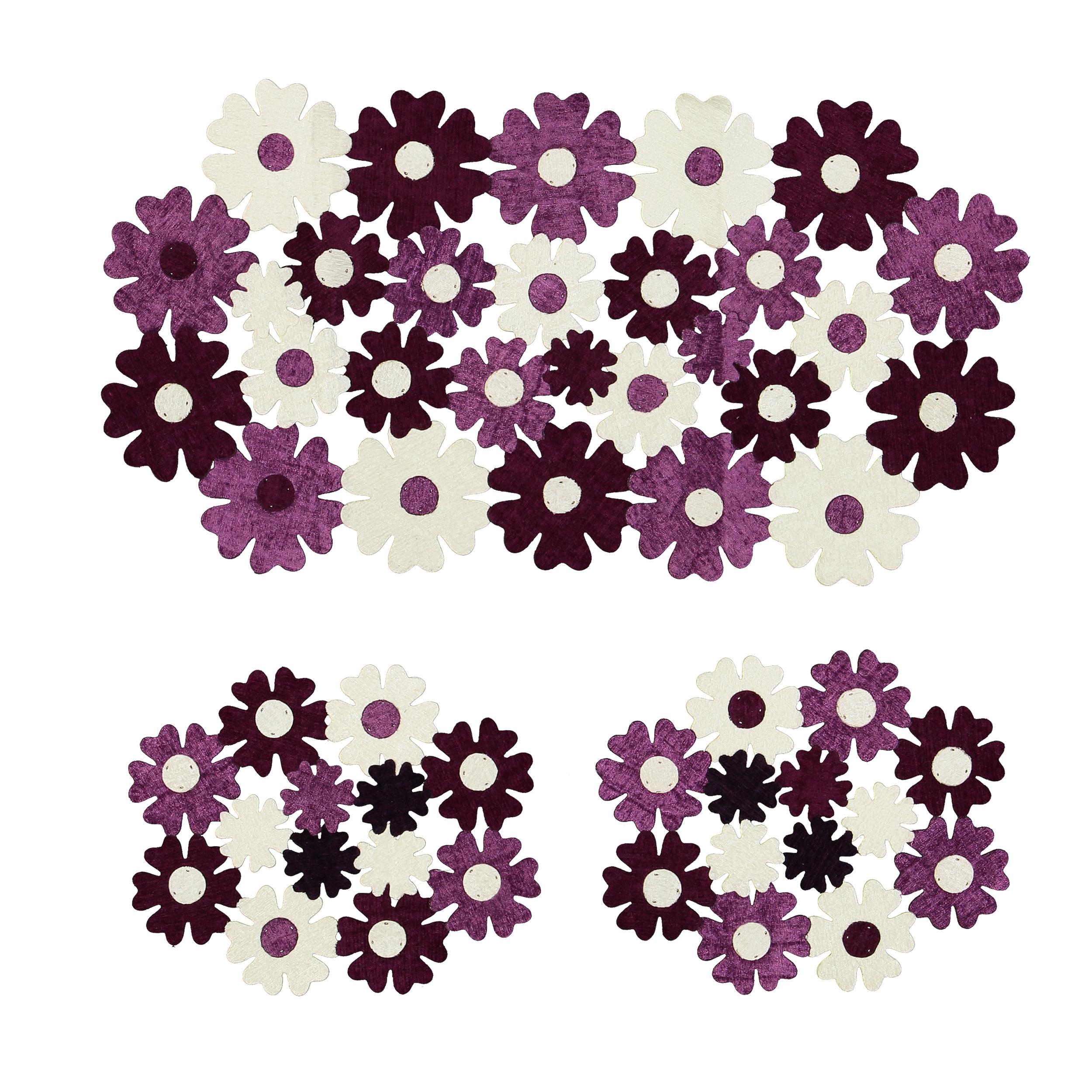 عکس ست رومیزی 3 تکه طرح گل کد 02