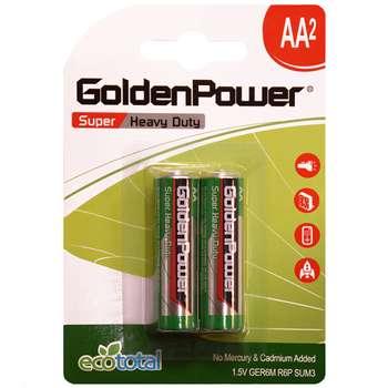 باتری قلمی گلدن پاور مدل Eco Total Super Heavy Duty بسته 2 عددی