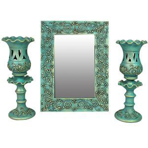 آینه و شمعدان دست نگار کد 04-20 مجموعه سه عددی