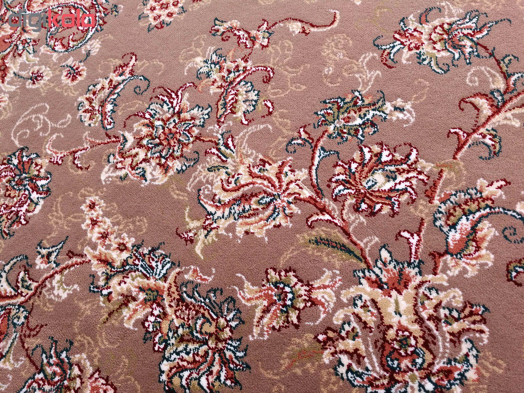 فرش ماشینی زمرد مشهد کد 210003 زمینه گردویی