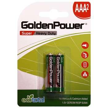 باتری نیم قلمی گلدن پاور مدل Eco Total Super Heavy Duty بسته 2 عددی