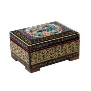 جعبه جواهرات خاتم کاری ایرانیان دکور طرح گل و مرغ