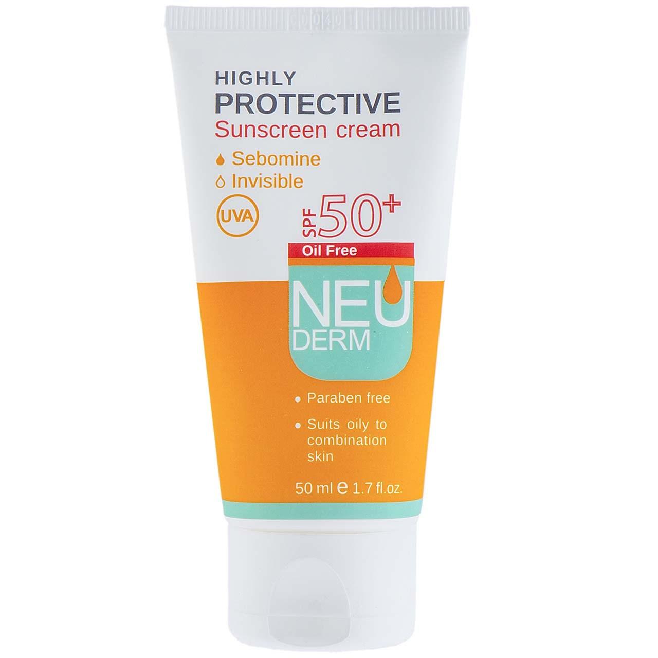 قیمت کرم ضد آفتاب نئودرم مدل Highly Protective SPF50 حجم 50 میلی لیتر