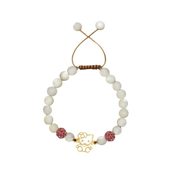 دستبند طلا 18 عیار دخترانه گالری مهرسا مدل Kitty-120