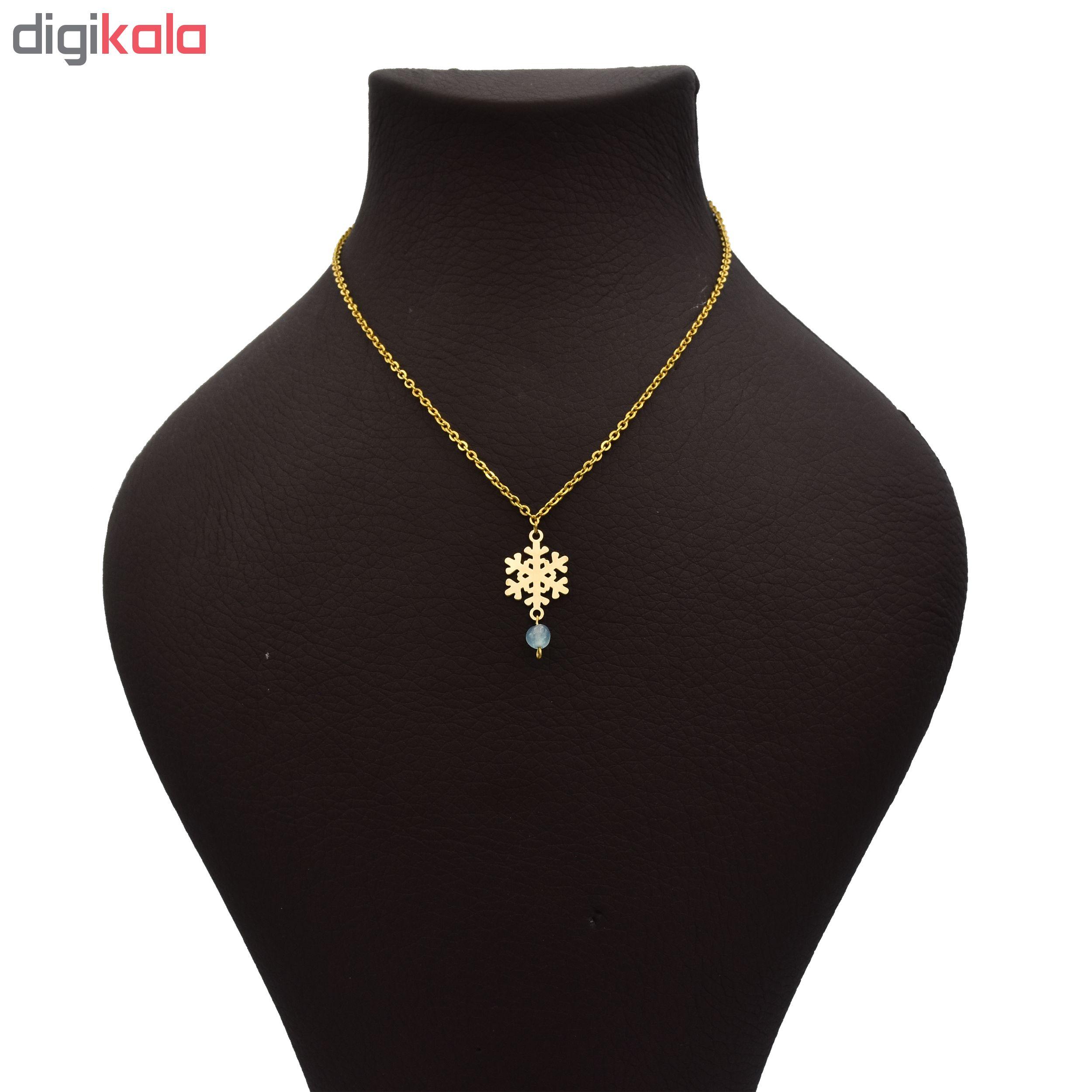 گردنبند طلا 18 عیار زنانه طرح برف کد 428M146