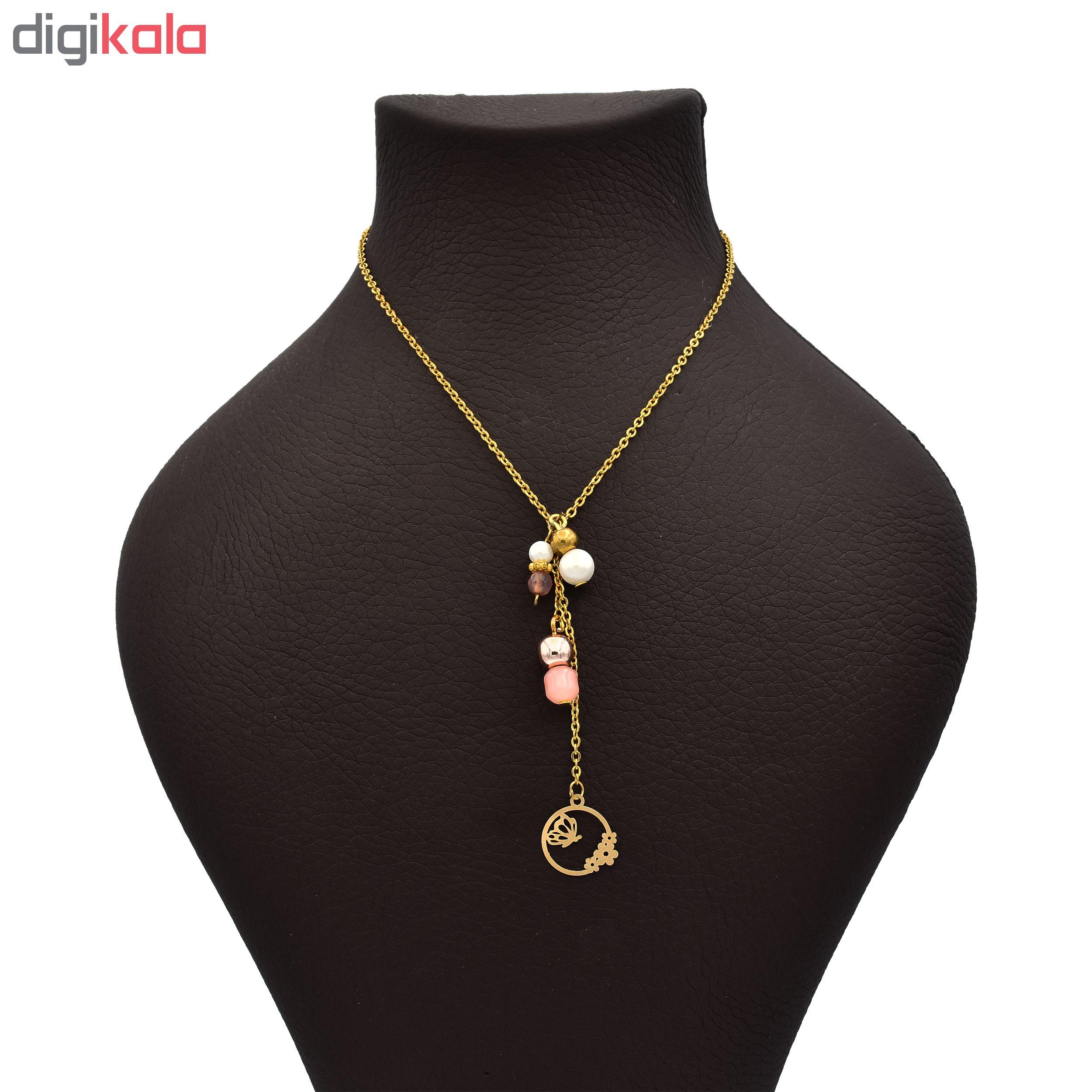گردنبند طلا 18 عیار زنانه طرح پروانه کد 432M150