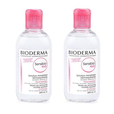 محلول پاک کننده آرایش صورت بایودرما مدل Sensibio H2O حجم 250 میلی لیتر بسته 2 عددی