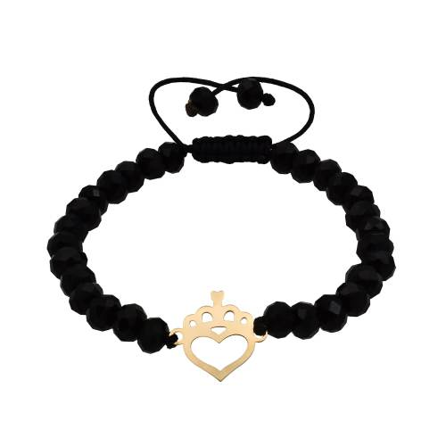 دستبند طلا 18 عیار زنانه آمانژ طرح قلب کد 397D2786