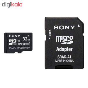کارت حافظه microSDHC سونی مدل SR-32UYA3 کلاس 10سرعت 90MBps ظرفیت 32 گیگابایت به همراه آداپتور SD