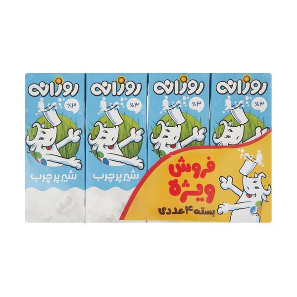 شیر پرچرب روزانه مقدار 200 میلی لیتر بسته 4 عددی