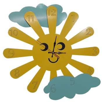 ساعت دیواری کودک طرح خورشید و ابر کد DLL22