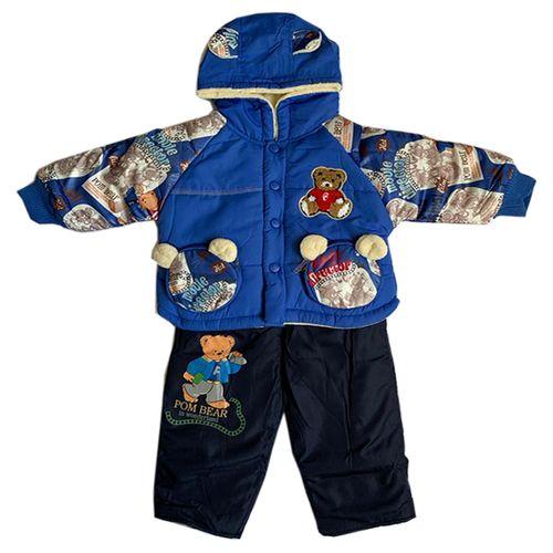 ست کاپشن و شلوار نوزادی طرح خرس کد 001