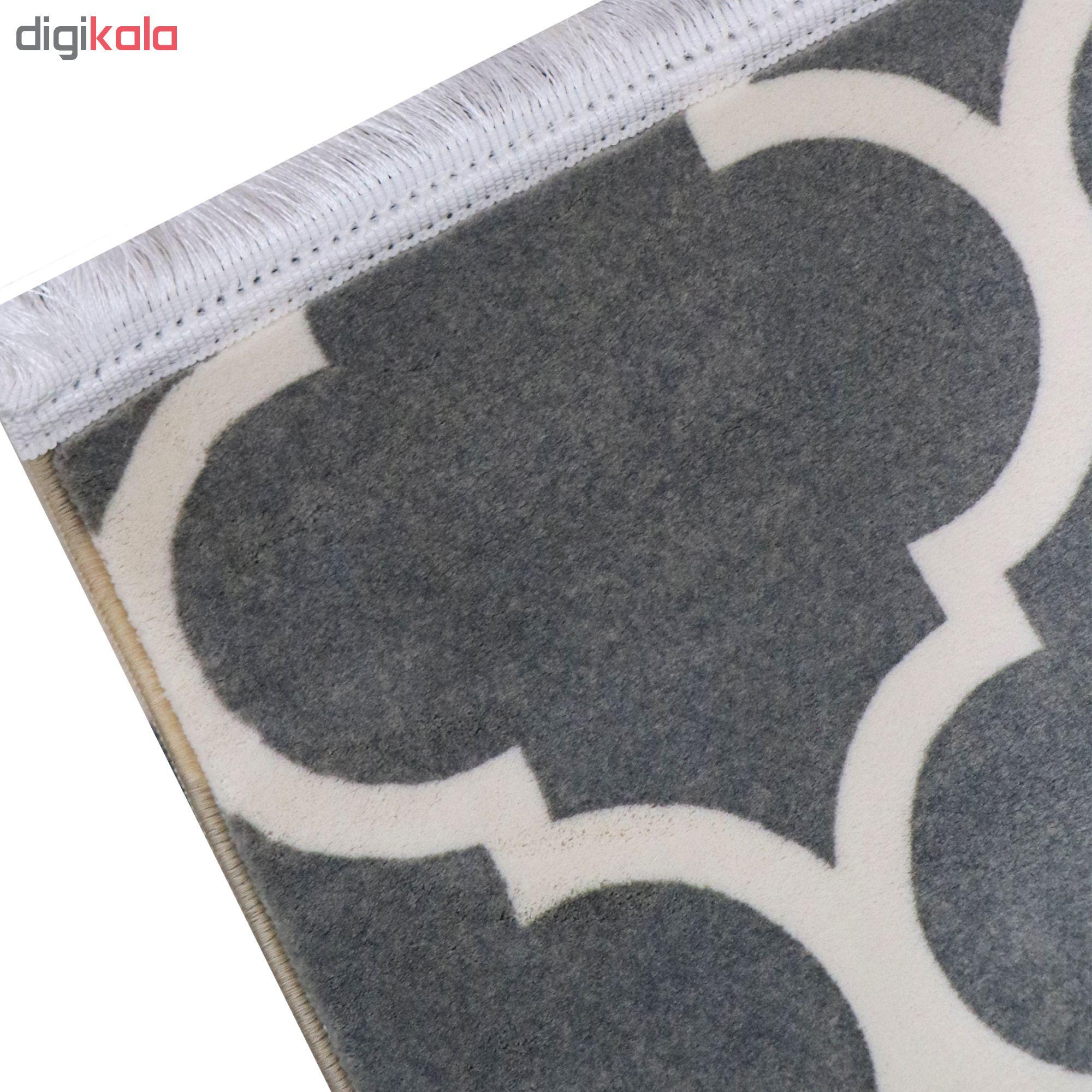 فرش ماشینی مدل روناک زمینه طوسی
