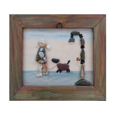 Photo of تابلو سنگی طرح دخترک و سگ کد 1006