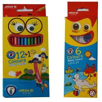 مداد رنگی 12 رنگ آریا کد 3016 به همراه آبرنگ 6 رنگ آریا کد 5001