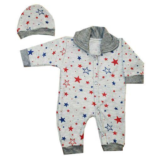 ست سرهمی و کلاه نوزاد طرح ستاره کد 200
