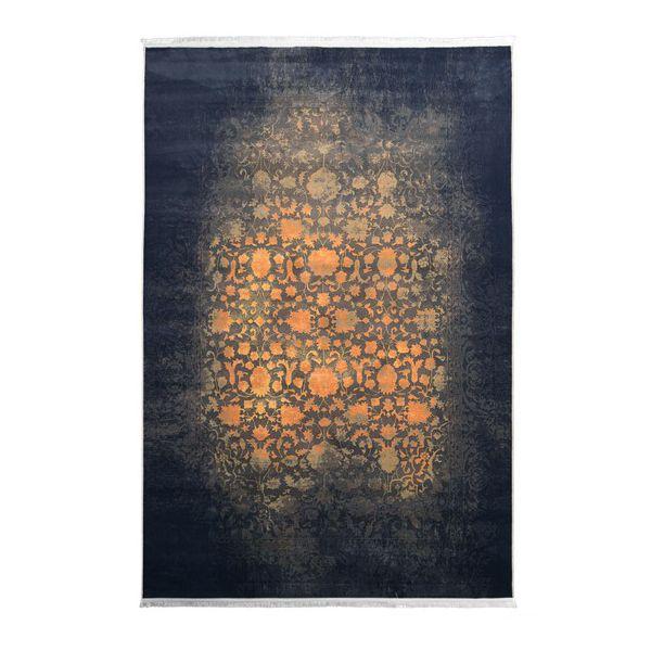 فرش ماشینی مدل کهنه نما کد 100603 زمینه طلایی
