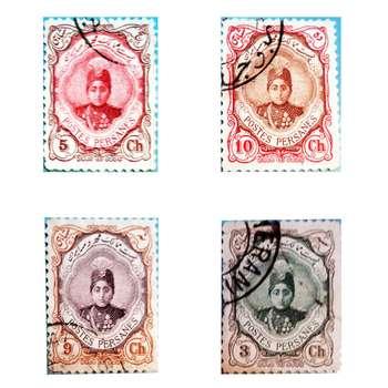 تمبر یادگاری سری قاجار مدل احمدی کد 52 مجموعه 4 عددی