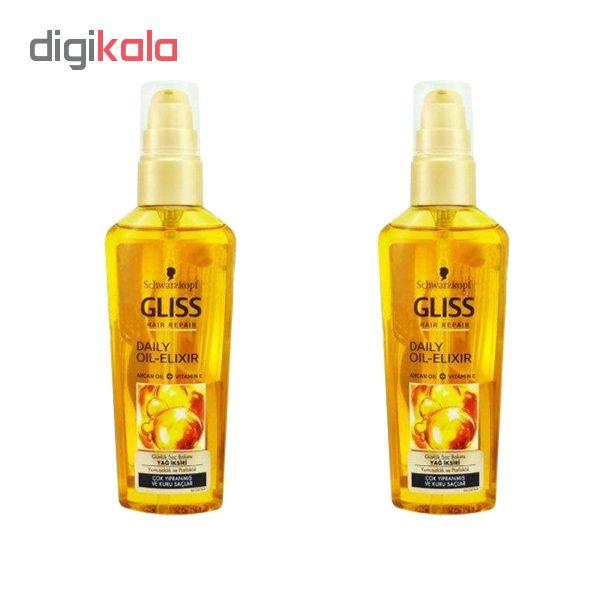 روغن مو گلیس مدل OIL-EILXIR کد 6235 حجم 75 میلی لیتر مجموعه 2 عددی