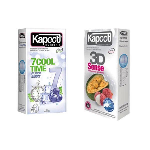 کاندوم کاپوت مدل 3D SENSE بسته 12 عددی به همراه کاندوم مدل 7Cool Time بسته 12 عددی