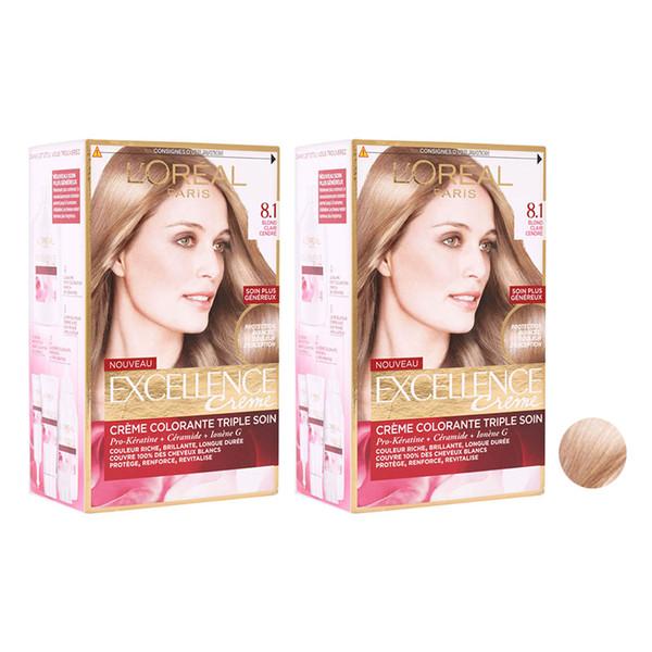 کیت رنگ مو لورآل مدل Excellence شماره 8.1 حجم 48 میلی لیتر رنگ بلوند دودی روشن مجموعه 2 عددی