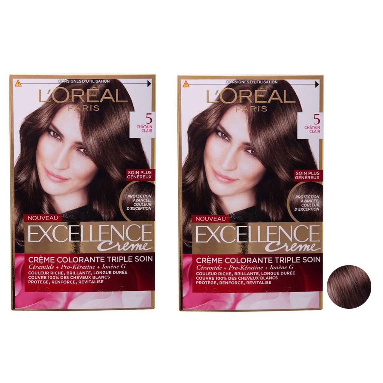 کیت رنگ مو لورآل مدل Excellence شماره 5 رنگ قهوه ای تیره مجموعه 2 عددی