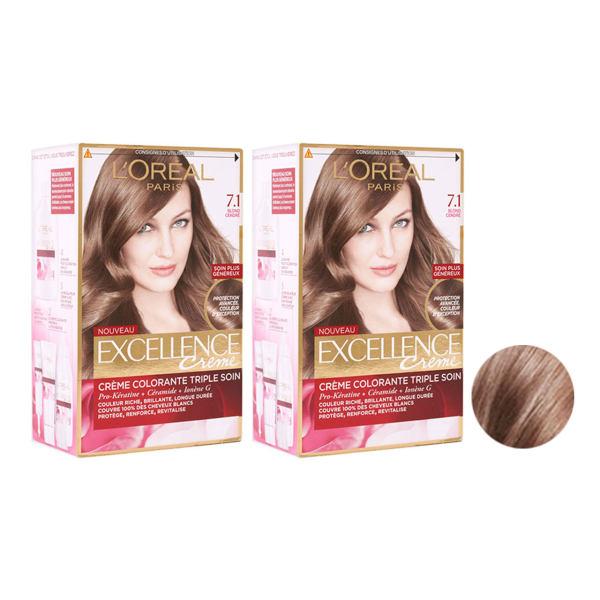 کیت رنگ مو لورآل مدل Excellence شماره 7.1 حجم 48 میلی لیتر رنگ بلوند دودی مجموعه 2 عددی