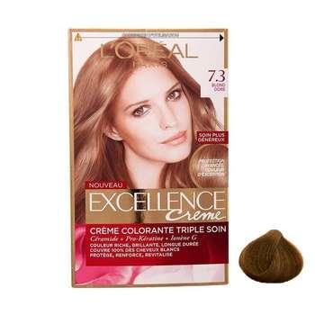 کیت رنگ مو لورآل مدل Excellence شماره 7.3 حجم 48 میلی لیتر رنگ بلوند طلایی متوسط